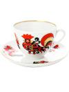 Чашка с блюдцем чайная форма Весенняя, рисунок Красные петушки, Императорский фарфоровый заводФарфоровая чайная пара.&#13;<br>Объем -  250 мл.<br>
