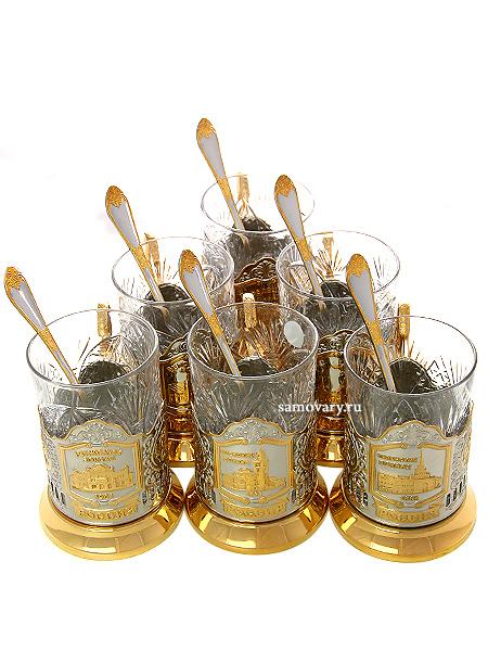 Набор подарочный с подстаканниками Вокзалы Москвы с позолотой КольчугиноВ комплекте: 6 подстаканников с позолотой с изображением вокзалов города Москвы, 6 хрустальных стаканов, 6 чайных ложечек.<br>
