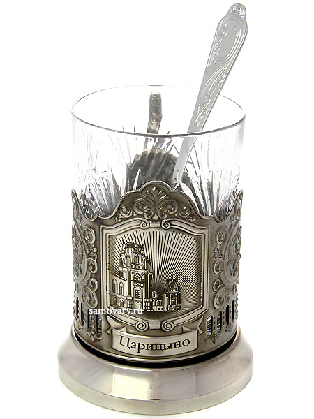Набор для чая с подстаканником Кольчугино Усадьбы Москвы. ЦарицыноЛатунный подстаканник с никелированным покрытием в комплекте со стаканом и чайной ложкой.<br>