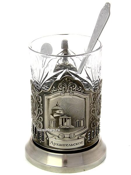 Набор для чая с подстаканником Кольчугино Усадьбы Москвы. АрхангельскоеЛатунный подстаканник с никелированным покрытием в комплекте со стаканом и чайной ложкой.<br>