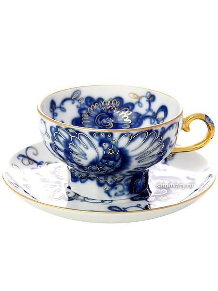 """Чашка с блюдцем чайная форма """"Шатровая"""", рисунок """"Поющий сад"""", Императорский фарфоровый завод Тульские самовары"""