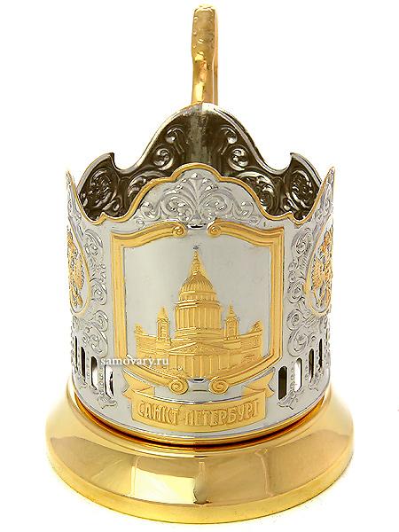Подстаканник с позолотой Исаакиевский собор КольчугиноЛатунный подстаканник с позолотой-посеребрением.<br>