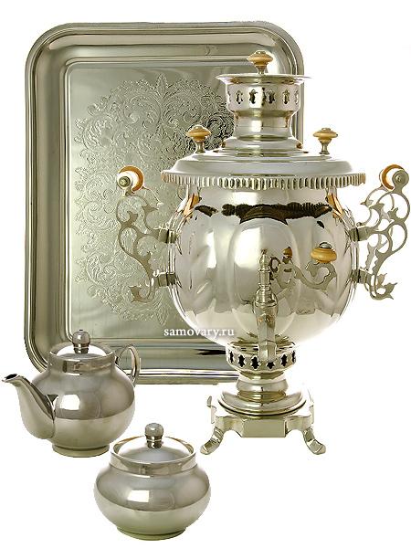 Набор с угольным самоваром 4,5 литра никелированный шар, арт. 210505Подарочный комплект: угольный самовар, металлический поднос, чайник и сахарница с напылением под серебро.&#13;<br>Труба для отвода дыма в комплекте.<br>