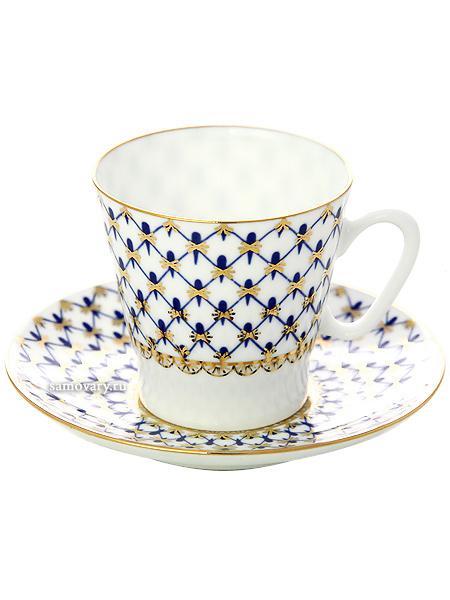 Кофейная чашка с блюдцем форма Черный кофе, рисунок Кобальтовая сетка, Императорский фарфоровый заводФарфоровая кофейная пара.&#13;<br>Объем чашки - 80 мл.<br>