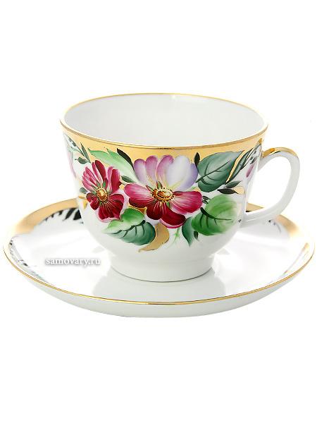 Чашка с блюдцем чайная форма Подарочная, рисунок Надежда, Императорский фарфоровый заводФарфоровая чайная пара.&#13;<br>Объем - 375 мл.<br>