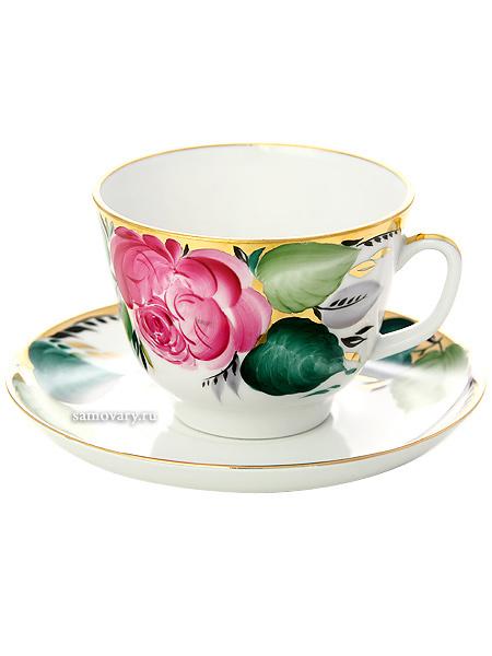 Чашка с блюдцем чайная форма Подарочная, рисунок Любовь, Императорский фарфоровый заводФарфоровая чайная пара.&#13;<br>Объем  - 375 мл.<br>