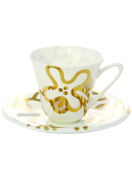 Чашка с блюдцем чайная форма Сад, рисунок Эмилия золотая, Императорский фарфоровый заводФарфоровая чайная пара.<br>Объем - 200 мл.<br>