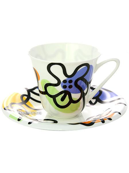 Чашка с блюдцем чайная форма Сад, рисунок Эмилия зеленая, Императорский фарфоровый заводФарфоровая чайная пара.&#13;<br>Объем - 200 мл.<br>