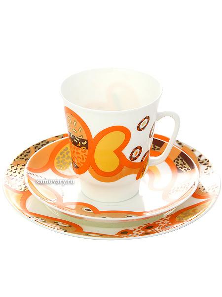 Комплект кофейный: чашка и два блюдца форма Майская, рисунок Мотив, Императорский фарфоровый заводПодарочный фарфоровый комплект - чашка и два блюдца.<br>Объем чашки - 165 мл.<br>