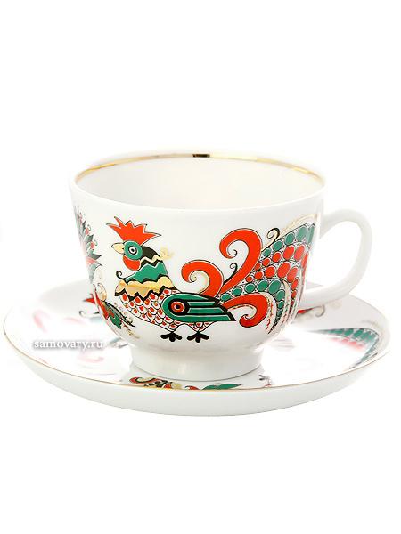 Чашка с блюдцем чайная форма Подарочная, рисунок Два петуха, Императорский фарфоровый заводФарфоровая чайная пара.&#13;<br>Объем - 375 мл.<br>