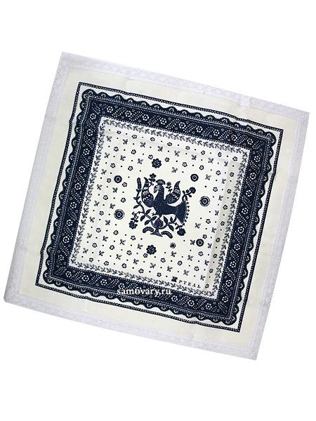 Салфетка Птица, бело-синяя с кружевом, 50х50  , АртельРазмер салфетки - 50*50 см.&#13;<br>Хлопколен.<br>