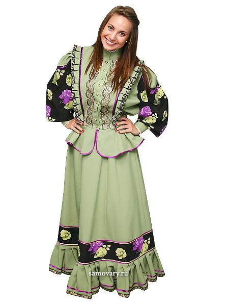 Костюм женский казачий Парочка зеленого цветаКостюм из юбки с блузой.<br>Материал - габардин.<br>