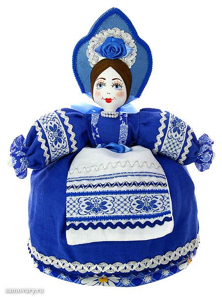 Кукла для улучшения заваривания чая Маня в синемКукла тряпичная декоративная на заварочный чайник.<br>Высота - 36 см.<br>Материал - лен.<br>