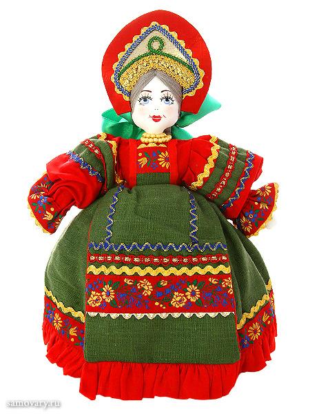 Кукла для улучшения заваривания чая Маня в зеленомКукла тряпичная декоративная на заварочный чайник.&#13;<br>Высота - 36 см.&#13;<br>Материал - лен.<br>