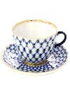 Фарфоровый кофейный сервиз на 6 персон форма Тюльпан, рисунок Кобальтовая сетка 6/20, Императорский фарфоровый заводСервиз кофейный из 20 предметов: 6 кофейных пар, кофейник, сахарница, 6 десертных тарелок.<br>
