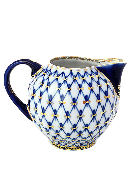 Сливочник малый форма Тюльпан, рисунок Кобальтовая сетка, Императорский фарфоровый заводФарфоровый сливочник.<br>Объем - 147 мл.<br>