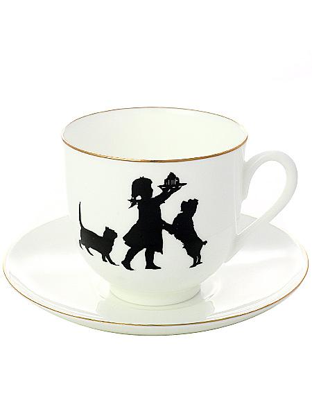 Кофейная чашка с блюдцем форма Ландыш, рисунок Именинница, серия Силуэты, Императорский фарфоровый заводФарфоровая кофейная пара.<br>Серия Силуэты.<br>Объем чашки - 180 мл.<br>