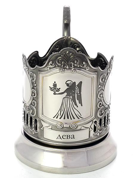 Никелированный подстаканник с гравировкой Знак Зодиака - Дева КольчугиноНикелированный подстаканник в комплекте с чайной ложкой.<br>