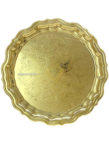 Латунный поднос для самовара круглый желтый с фигурным краем и гравировкой, КольчугиноКруглый латунный поднос.&#13;<br>Диаметр - 37 см.<br>