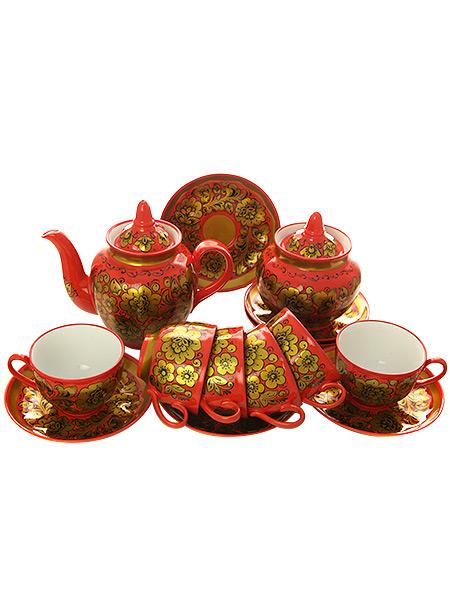 Чайный сервиз с художественной росписью Торжество на 6 персонКомплект на 6 персон с сахарницой и заварочным чайником.<br>Материал - керамика.<br>