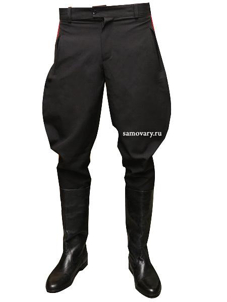 Галифе из габардина с красным тонким лампасомМужские брюки свободные в бедрах и суженные в коленях.&#13;<br>Ткань - габардин.<br>