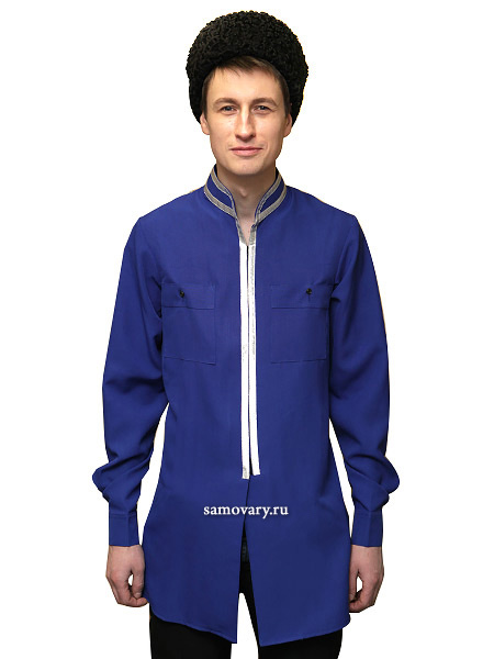 Бешмет казачий из габардина синего цветаМужской кафтан.&#13;<br>Ткань - габардин.<br>