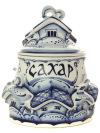 Банка для сахара Деревенька с художественной росписью ГжельКерамическая банка с ручной росписью.<br>