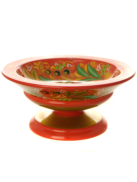 Деревянная конфетница Кудрина на красном фоне, 70х160Деревянная вазочка для конфет с хохломской росписью.<br>Размер - 70х160 мм.<br>