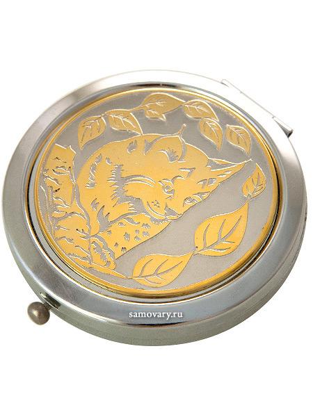 Позолоченное зеркало с гравюрой Рысенок ЗлатоустЗеркало подарочно-сувенирное позолоченное с гравюрой.<br>Упаковано в стильную дизайнерскую коробку.<br>Ручная работа.<br>