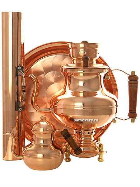 Угольный самовар-чайник 2 литра медный в комплекте с трубой, чайником и подносом, арт. 220552 Москва