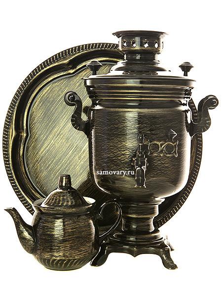 Электрический самовар в наборе 3 литра с художественной росписью Золотые нити, арт. 130471Самовары электрические<br>Комплект из трех предметов:латунный самовар, металлический поднос и заварочный чайник.<br>