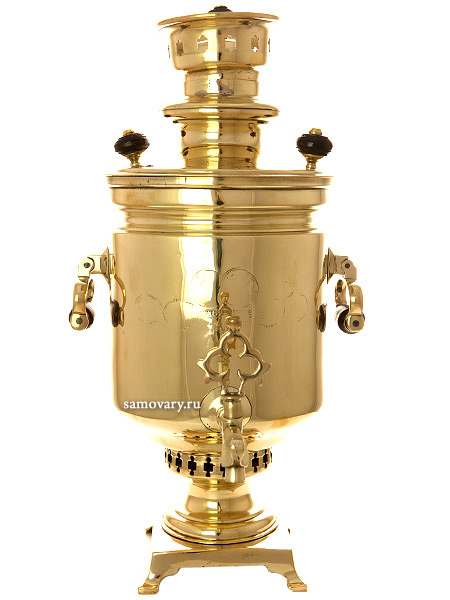 Угольный самовар 4 литров желтый цилиндр с вислыми ручками, произведен преемником П.М.Баташева, арт. 480555Латунный самовар с медалями.  <br>Отреставрирован тульскими мастерами и готов к эксплуатации.<br>