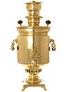 Угольный самовар 4 литров желтый цилиндр с вислыми ручками, произведен преемником П.М.Баташева, арт. 480555Латунный самовар с медалями.  &#13;<br>Отреставрирован тульскими мастерами и готов к эксплуатации.<br>