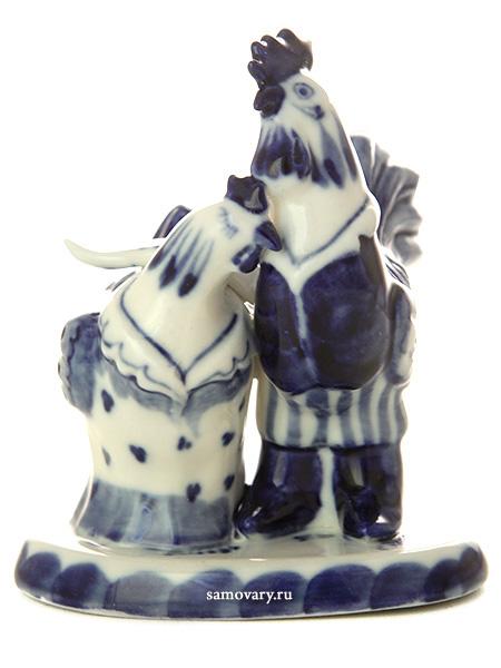 Скульптура Петушок и Курица Гжель, автор Жигунов А.