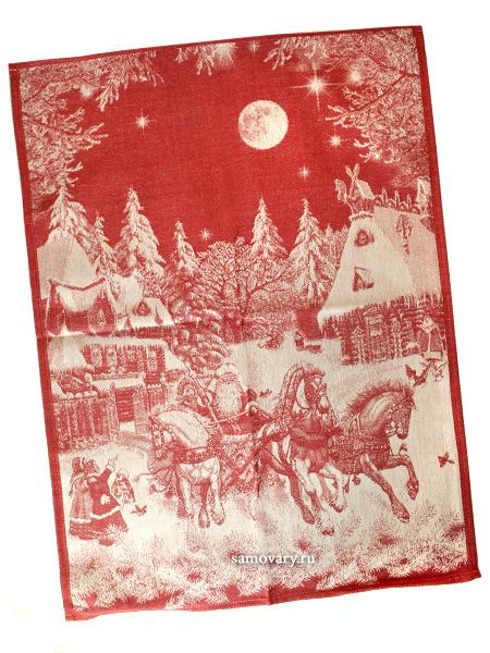 Полотенце Зимняя тройка красное без кружева, 50х70Размер полотенца - 50*70 см. <br>Хлопок, лен.<br>