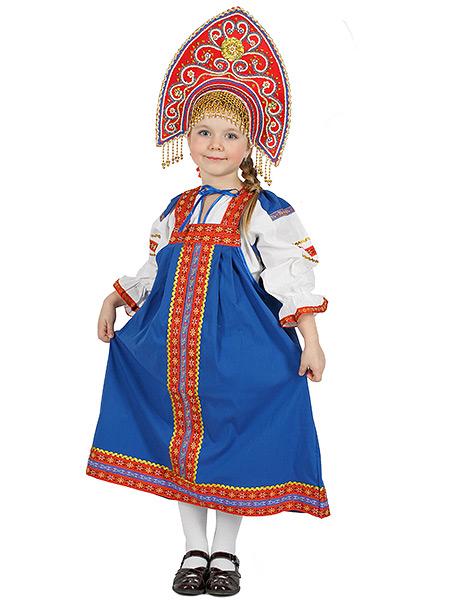 Русский народный костюм, детский льняной комплект синий Забава: сарафан и блузка, 7-12 летДетский костюм для девочки, возраст 7,8,9,10,11,12 лет.&#13;<br>Ткань - лен. Цвет - синий.<br>