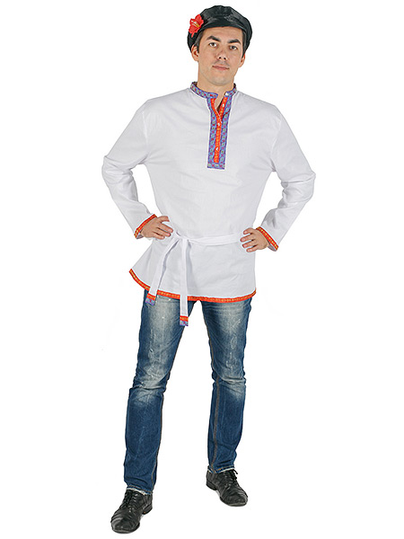 Косоворотка мужская льняная белая, 3XL-5XLТрадиционная русская рубаха с косым воротом.<br>Размер от 3XL до 5XL.<br>