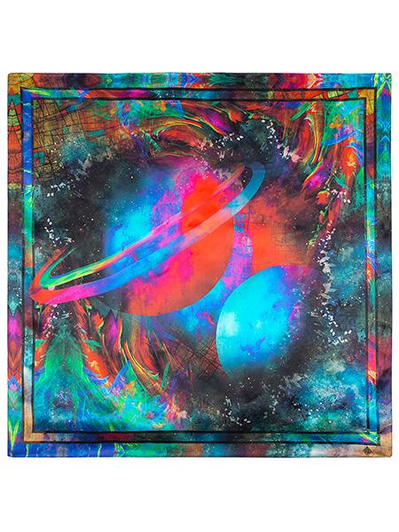 Шелковый Павлопосадский платок  Космос 89*89 см, арт. 10090-1Платок шелковый (атлас). <br>Размер 89х89 см.<br>