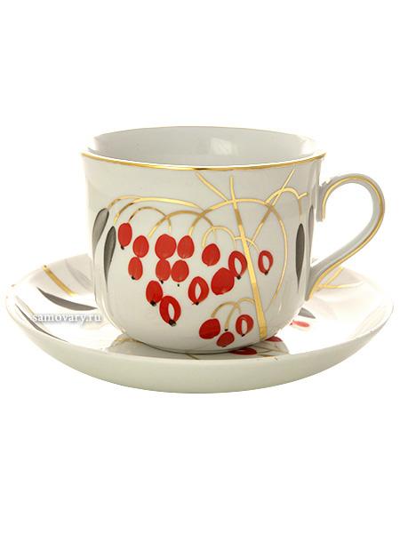 Фарфоровая чашка с блюдцем форма Ностальгия рисунок Кизил, Дулевский фарфорЧашка с блюдцем на 1 персону.<br>Объем - 450 мл.<br>