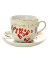 Фарфоровая чашка с блюдцем форма Ностальгия рисунок Кизил, Дулевский фарфорЧашка с блюдцем на 1 персону.&#13;<br>Объем - 450 мл.<br>