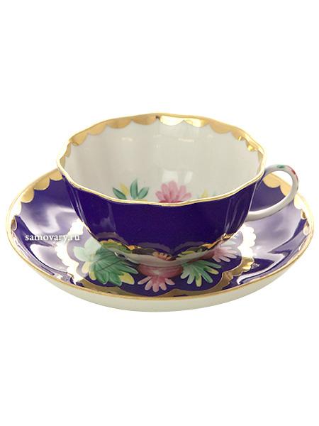Фарфоровая чашка с блюдцем форма Тюльпан рисунок Красавица синий, ДулевоЧашка с блюдцем на 1 персону.&#13;<br>Объем - 220 мл.<br>