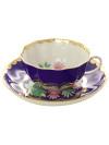 Фарфоровая чашка с блюдцем форма Тюльпан рисунок Красавица синий, Дулевский фарфорЧашка с блюдцем на 1 персону.&#13;<br>Объем - 220 мл.<br>