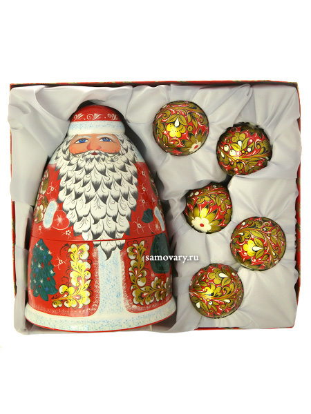 Новогодний подарочный комплект Дед Мороз и 5 шаров ХохломаПодарочный набор.<br>Штоф Дед Мороз и 5 новогодних шаров<br>