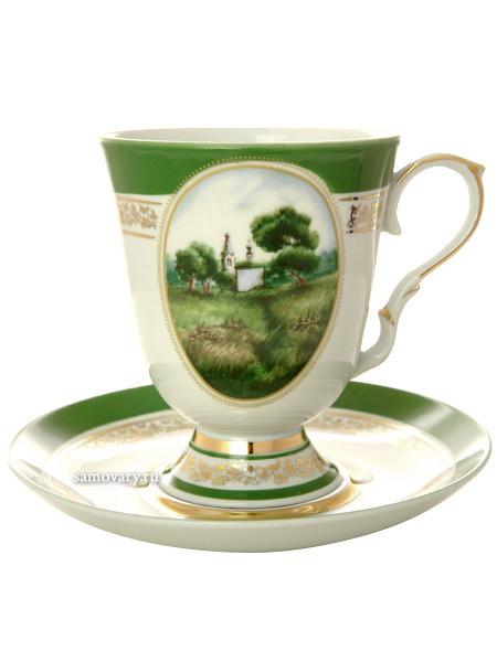 Фарфоровый бокал с блюдцем форма Классический рисунок Пейзаж Дулевский фарфорБокал с блюдцем на 1 персону.&#13;<br>Объем - 600 мл.<br>