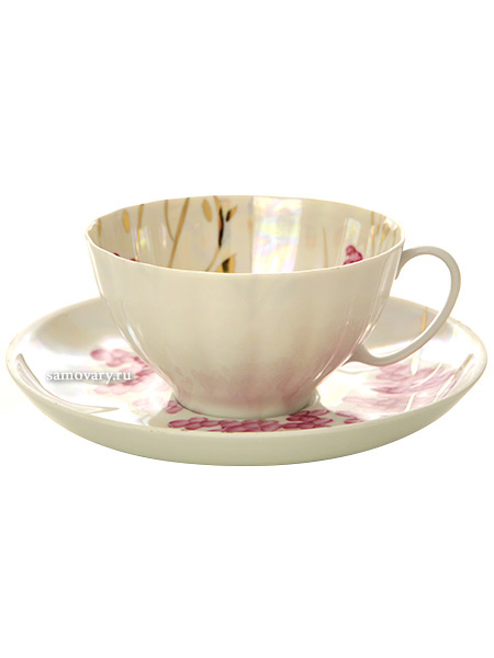 Фарфоровая чашка с блюдцем форма Белый лебедь рисунок Розовая сирень, Дулевский фарфорЧашка с блюдцем на 1 персону.<br>Объем - 275 мл.<br>