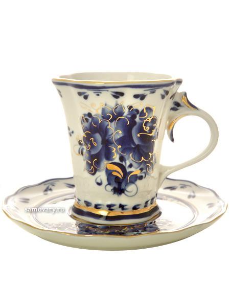 Чайная пара с художественной росписью Гжель Катерина с золотомКерамическая чайная пара с ручной росписью.<br>Объем - 250 мл.<br>