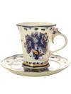 Чайная пара с художественной росписью Гжель Катерина с золотомКерамическая чайная пара с ручной росписью.&#13;<br>Объем - 250 мл.<br>