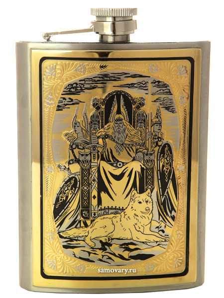 Позолоченная фляжка с гравюрой Перун в подарочном футляре ЗлатоустСувенирная позолоченная фляжка. Воронка в комплекте.<br>Упакована в стильную дизайнерскую коробку.<br>Ручная работа.<br>
