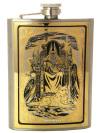 Позолоченная фляжка с гравюрой Перун в подарочном футляре ЗлатоустСувенирная позолоченная фляжка. Воронка в комплекте.&#13;<br>Упакована в стильную дизайнерскую коробку.&#13;<br>Ручная работа.<br>