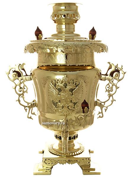Угольный самовар 5 литров латунный  Россия, арт. 310215Самовар угольный, эксклюзивный.&#13;<br>Труба для отвода дыма в комплекте.<br>